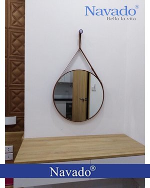 Gương bỉ trang điểm dây da Navado 40cm