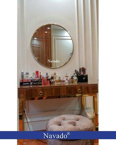 Gương trang điểm vành inox mạ gold 80cm