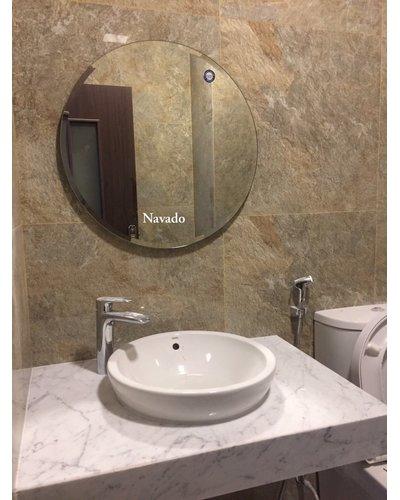 Gương tròn phòng tắm mài vát đẹp 80cm