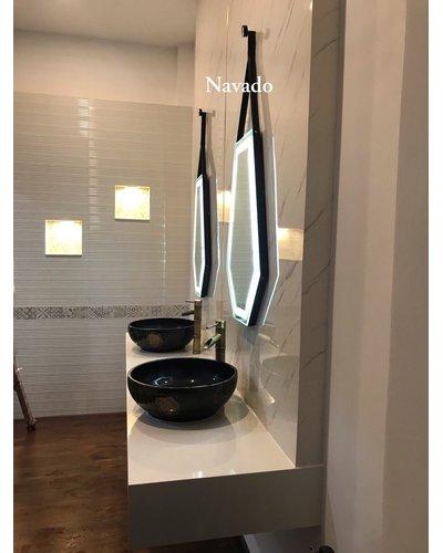 Gương phòng tắm đèn led lục giác treo tường