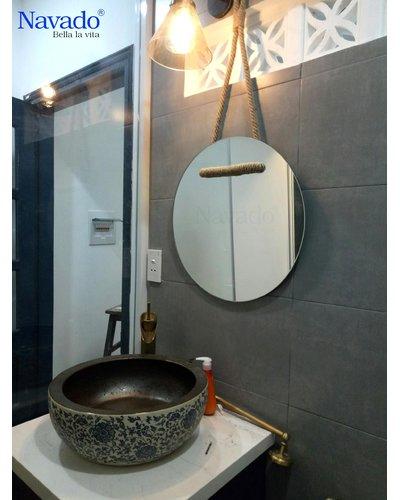 sản xuất gương tròn treo dây thừng 60cm