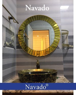 Sản xuất gương vàng gold nghệ thuật 80cm
