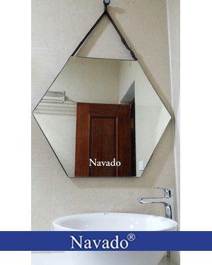 sản xuất gương bỉ phòng tắm dây da treo tường lục giác 60cm