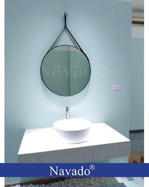 Sản xuất gương treo dây da cao cấp phòng tắm 50cm