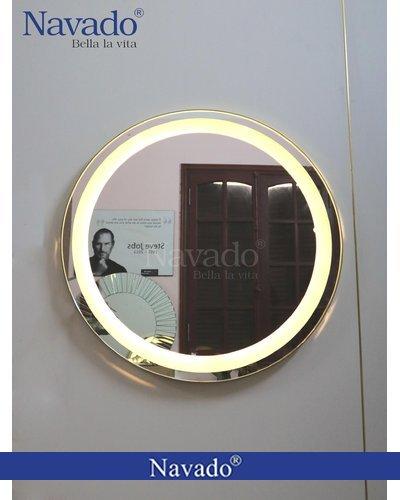 Gương đèn led viền inox vàng cao cấp phòng tắm