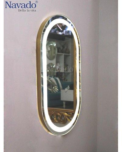 Gương trang điểm viền vàng inox