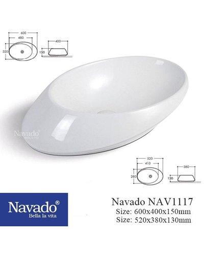 Chậu sứ nghệ thuật cao cấp decor phòng tắm NAV 1110