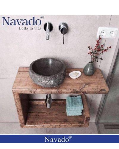 Chậu đá lavabo tự nhiên phòng tắm decor