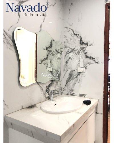 Gương đèn decor theo thiết kế cho phòng tắm cao cấp