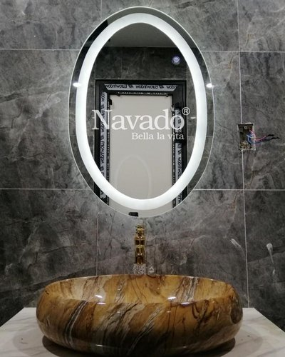 Gương elip đèn phòng tắm cao cấp