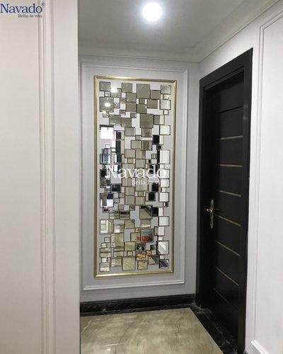 Gương khung vàng ghép tường nghệ thuật phòng khách