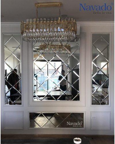 Gương ghép tường luxury nghệ thuật cho phòng khách