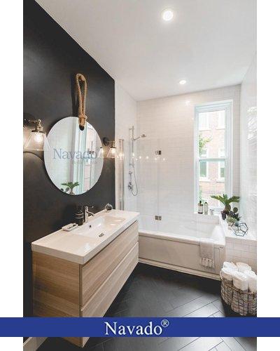 Gương dây thừng trơn tròn cho phòng tắm