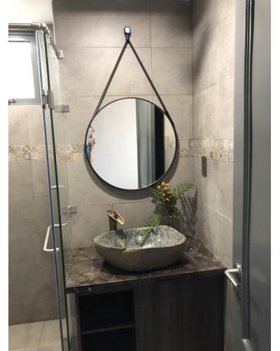 Gương tròn treo dây da phòng tắm 50cm