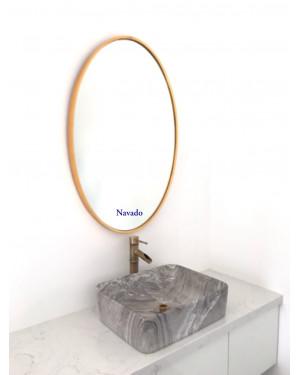 sản xuất gương phòng tắm khung vàng elip decor