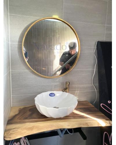 Sản xuất gương tròn khung inox phòng tắm Cao Cấp