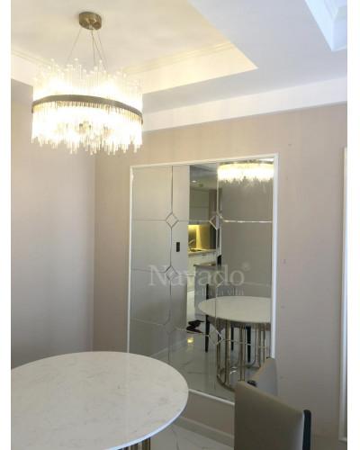 Gương trang trí ghép ô vuông phòng khách