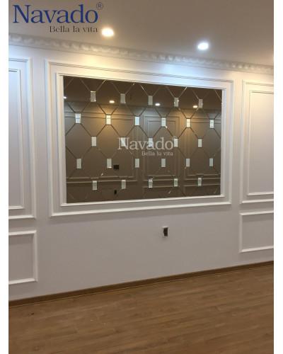 Bán gương kính Bỉ Màu xám ghép tường phòng khách