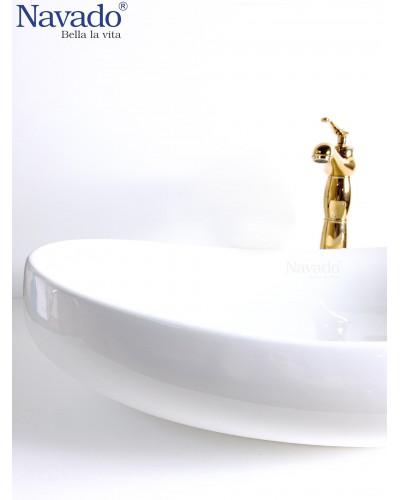 Vòi đồng thau gắn chậu lavabo nghệ thuật