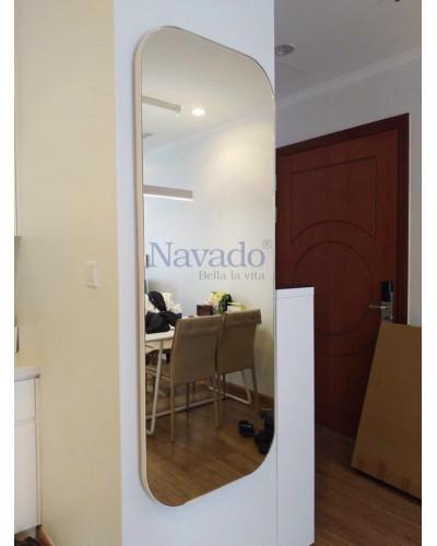 Gương soi toàn thân bọc da trắng bo góc size 1800x600