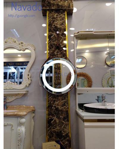 Gương treo dây da nâu đèn led size 60cm