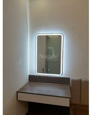Gương chữ nhật bo góc đèn led size 900x700