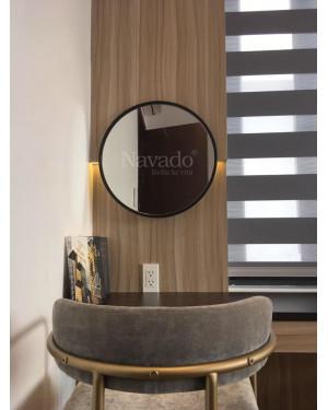 Gương trang điểm vành thép đen size 60cm