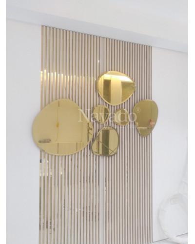 Bộ gương 6 viên đá màu vàng