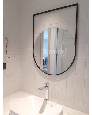 Gương tròn decor vành thép treo
