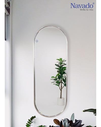 Gương toàn thân khung inox bạc 304 cao cấp
