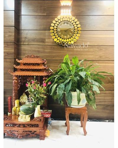 Đồng hồ gương nghệ thuật Chim Công